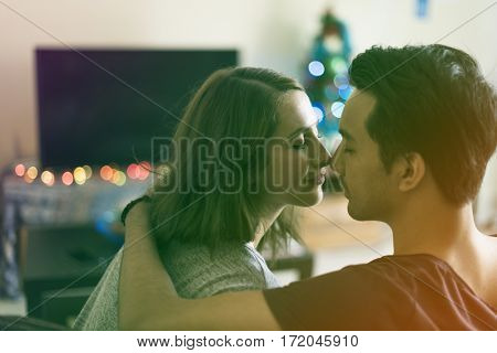 Gradient Color Style with Couple Dating Happiness Enjoyment Holiday