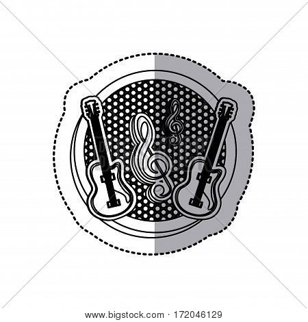 emblem electric guitar with music symbol icon, vector illustration