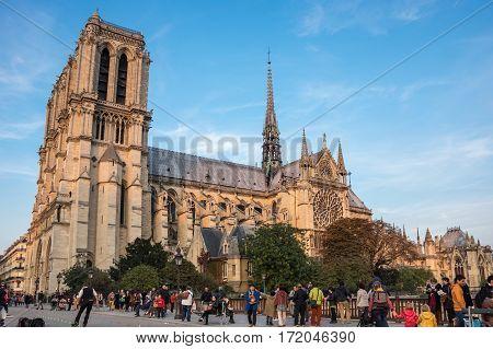 PARIS FRANCE - OCTOBER 11 2015: Notre-Dame de Paris (French for