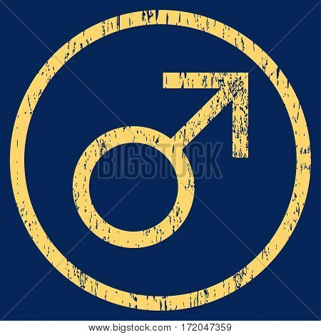 Mars Male Symbol grainy textured icon for overlay watermark stamps. Rounded flat vector symbol with unclean texture. Circled yellow ink rubber seal stamp with grunge design on a blue background.