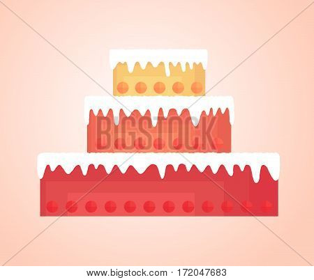 Simplified tall cake with bright shortcakes different colors decorated with round fruit. Flows down the white cream