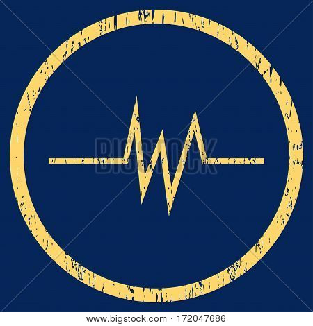 Pulse Signal grainy textured icon for overlay watermark stamps. Rounded flat vector symbol with scratched texture. Circled yellow ink rubber seal stamp with grunge design on a blue background.