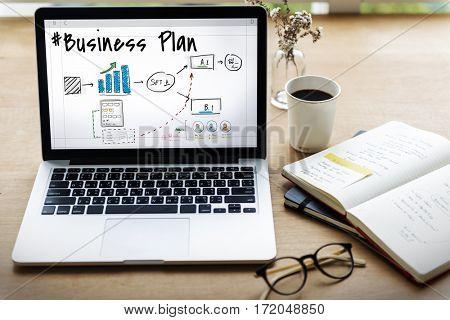 Business plan flowchart drawing sketch