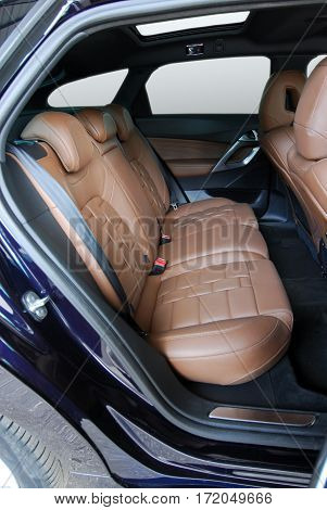 car interior, black rear seat in the passenger car