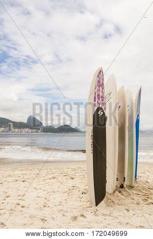 Surfboards Standing Upright The Copacabana Beach