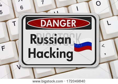 Russian hacking danger sign A black and white danger sign with text Russian hacking on a keyboard 3D Illustration