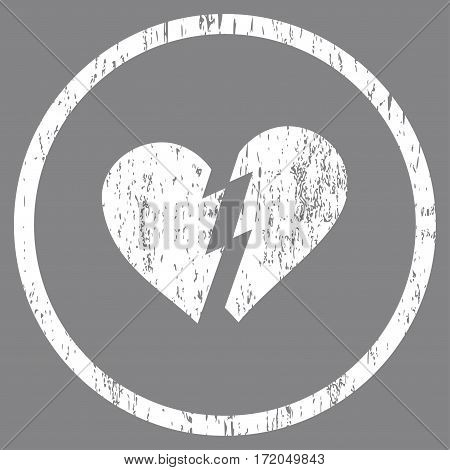 Broken Heart grainy textured icon for overlay watermark stamps. Rounded flat vector symbol with scratched texture. Circled white ink rubber seal stamp with grunge design on a gray background.