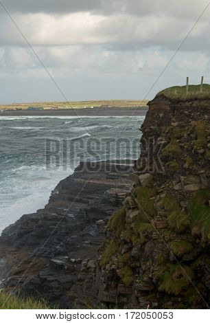 The rocky coastline along the Wild Atlantic Way in County Clare, Ireland