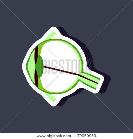 eye paper sticker on stylish background isolated