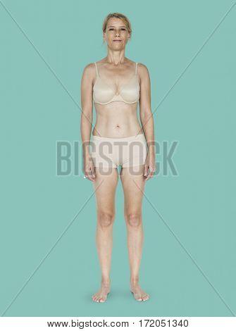 Caucasian Blonde Female Model On Green Background