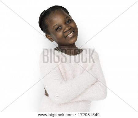 African descent girl is smiling