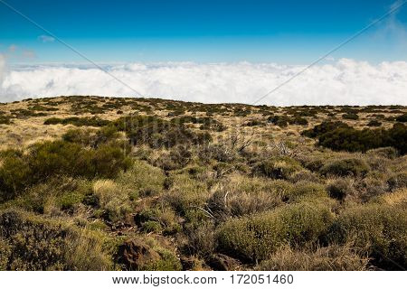 View over clouds in Teide National Park in Tenerife Canary Islands Spain