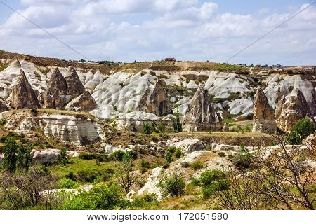 Rock mountain landscape view. Cappadocia, Anatolia, Turkey.
