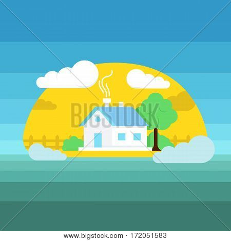 Flat style vector illustration of house. Sun weather landscape illustration with house, clouds and trees. Landscape summer home graphic.