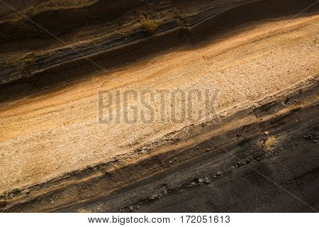 Sediment layers near de road at Teide National Park Tenerife Spain
