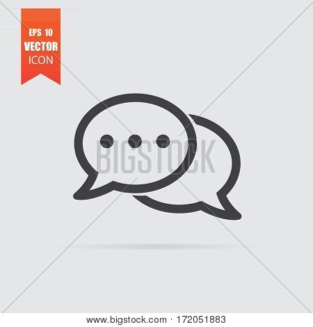 Bubbles Speech Icon In Flat Style Isolated On Grey Background.