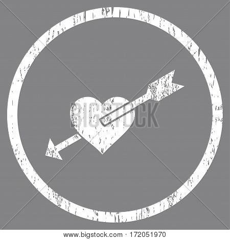 Heart Arrow grainy textured icon for overlay watermark stamps. Rounded flat vector symbol with dust texture. Circled white ink rubber seal stamp with grunge design on a gray background.