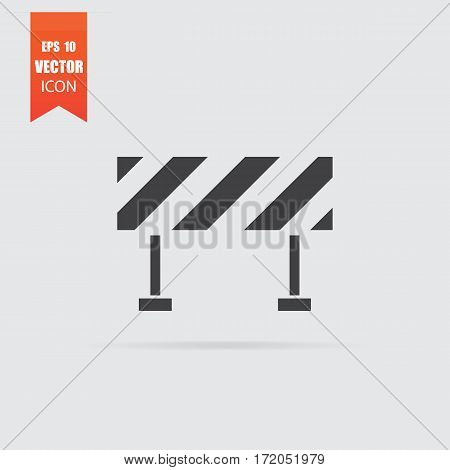 Barrier Icon In Flat Style Isolated On Grey Background.
