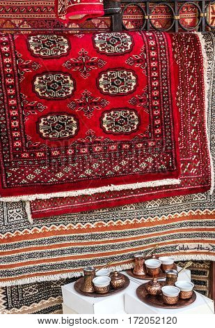 Persian carpets in shop of Eastern souvenirs