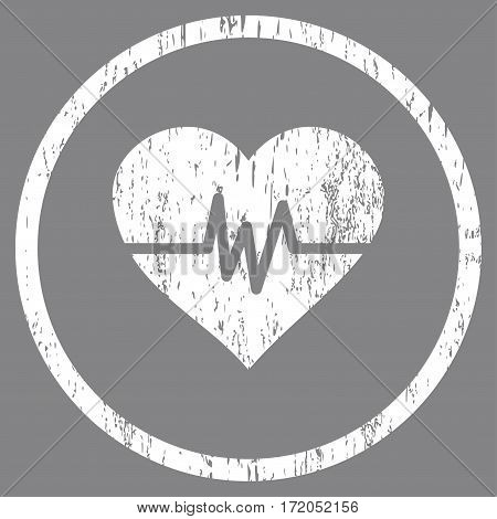 Heart Pulse grainy textured icon for overlay watermark stamps. Rounded flat vector symbol with dirty texture. Circled white ink rubber seal stamp with grunge design on a gray background.