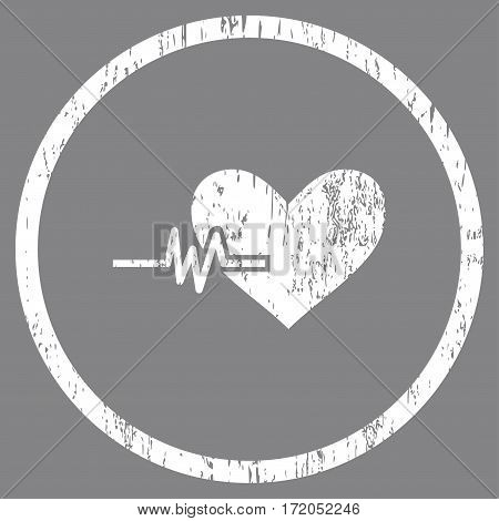 Heart Pulse grainy textured icon for overlay watermark stamps. Rounded flat vector symbol with unclean texture. Circled white ink rubber seal stamp with grunge design on a gray background.