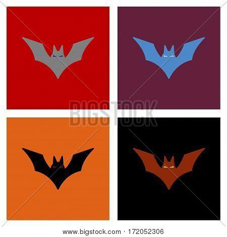 assembly of flat icons halloween vampire bats