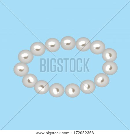 the string of Shiny White pearls isolated on white background