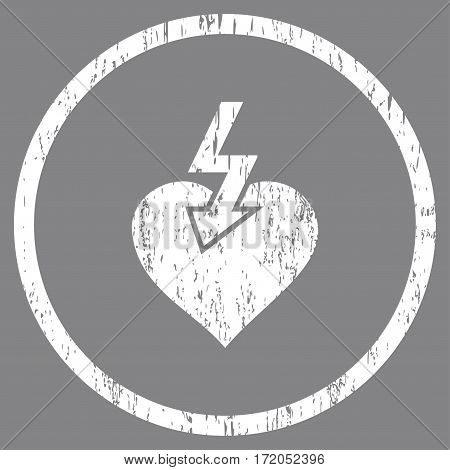 Heart Shock Strike grainy textured icon for overlay watermark stamps. Rounded flat vector symbol with scratched texture. Circled white ink rubber seal stamp with grunge design on a gray background.