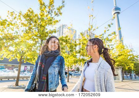 Best Friends Walking Together In Toronto