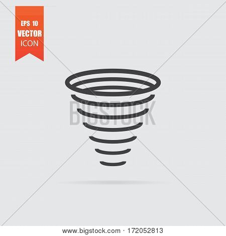 Tornado Icon In Flat Style Isolated On Grey Background.