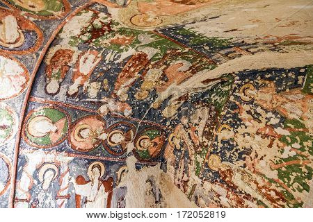 Goreme, Turkey - Jan 3, 2017: Fresco in cave orthodox church El Nazar,. Cappadocia, Turkey