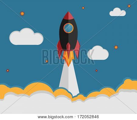 Illustration of a rocket ship in flat vector style. Space travel business launch symbol or a new project development. Creative idea and management concept.