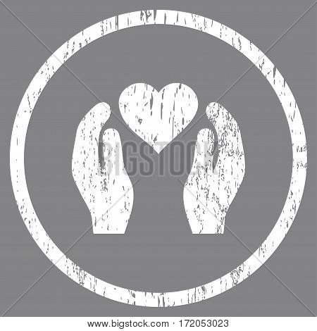 Love Care Hands grainy textured icon for overlay watermark stamps. Rounded flat vector symbol with unclean texture. Circled white ink rubber seal stamp with grunge design on a gray background.