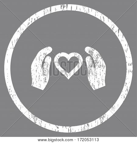 Love Care Hands grainy textured icon for overlay watermark stamps. Rounded flat vector symbol with dust texture. Circled white ink rubber seal stamp with grunge design on a gray background.