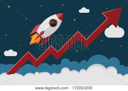 Rocket ship take off in cosmos and a red graph increase. Business launch and development the growth of the economy new project investments up.