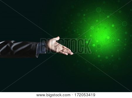 businessman points to blank luminous place, the concept of modern technology