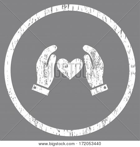 Love Heart Care Hands grainy textured icon for overlay watermark stamps. Rounded flat vector symbol with unclean texture. Circled white ink rubber seal stamp with grunge design on a gray background.