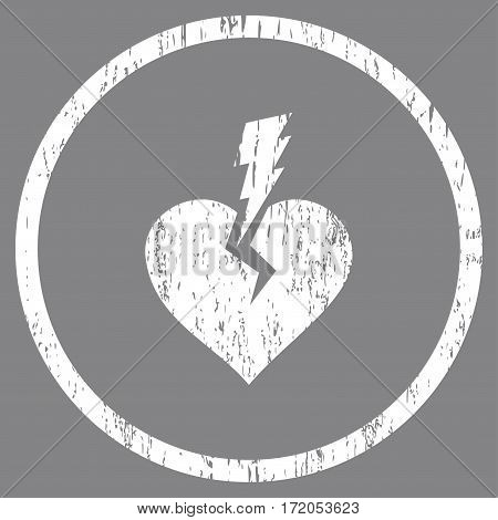 Love Heart Crash grainy textured icon for overlay watermark stamps. Rounded flat vector symbol with dust texture. Circled white ink rubber seal stamp with grunge design on a gray background.