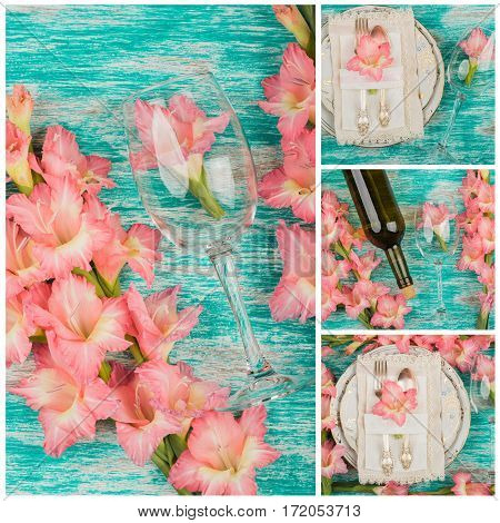 Tableware and silverware with light pink gladiolus on the light background top view