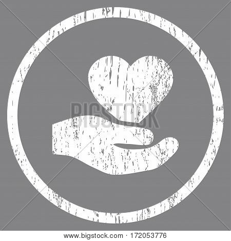 Love Heart Offer Hand grainy textured icon for overlay watermark stamps. Rounded flat vector symbol with unclean texture. Circled white ink rubber seal stamp with grunge design on a gray background.