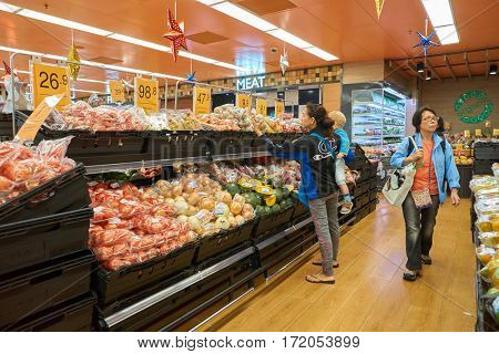 HONG KONG - CIRCA NOVEMBER, 2016: inside Taste supermarket. Taste is a chain supermarket in Hong Kong owned by AS Watson