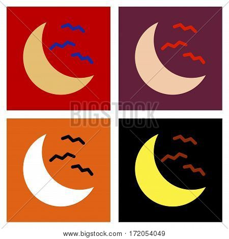 assembly of flat icons halloween moon bats