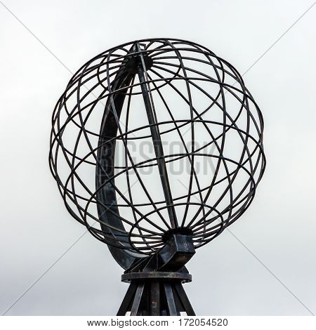 Terrestrial globe model in Honningsvag, Norway, Arctic