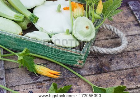Full Wooden Box Of Green Courgettes And Squashes