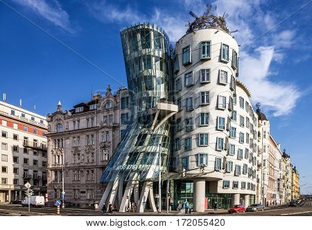 PRAGUE CZECH REPUBLIC - MAY 3 2016: Prague Dancing modern house Fred and Ginger