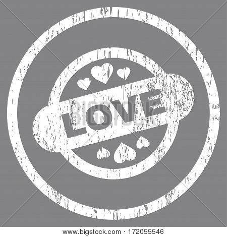Love Stamp Seal grainy textured icon for overlay watermark stamps. Rounded flat vector symbol with scratched texture. Circled white ink rubber seal stamp with grunge design on a gray background.