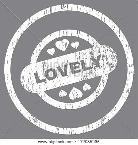 Lovely Stamp Seal grainy textured icon for overlay watermark stamps. Rounded flat vector symbol with unclean texture. Circled white ink rubber seal stamp with grunge design on a gray background.