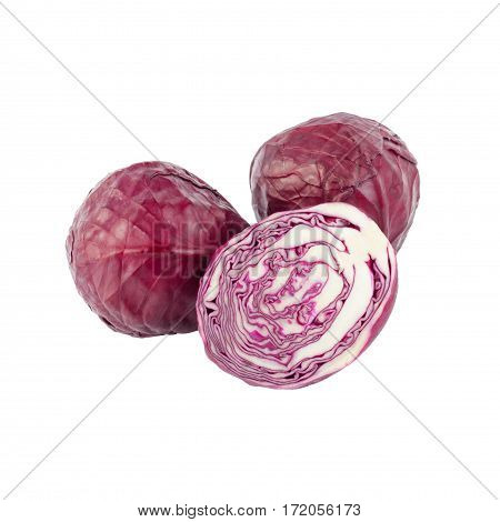 Violet Cabbages Isolated On The White