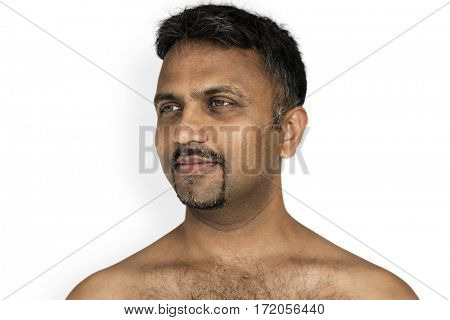 Indian Man Smiling Happiness Bare Chest Portrait