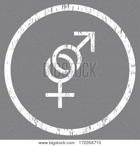 Sex Symbol grainy textured icon for overlay watermark stamps. Rounded flat vector symbol with scratched texture. Circled white ink rubber seal stamp with grunge design on a gray background.
